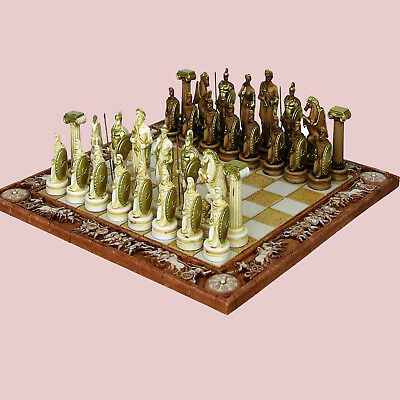 Zeus & Hera Greek Mythology Olympus Gods Handmade Alabaster Board Game Chess Set