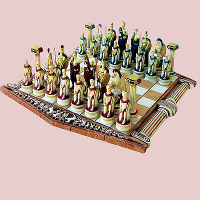 Zeus & Greek Warriors Ancient Mythology Handmade Chess Set Figures & Board Game