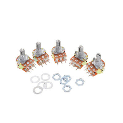 5pcs Dual Stereo Potentiometer Pot WH148 50K Ohm R Linear Shaft 15mm 6Pin#Y6