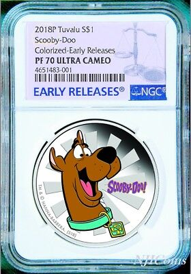 2018 TUVALU SCOOBY-DOO SILVER PROOF $1 1oz COIN NGC PF 70 Ultra Cameo COLOR DOG