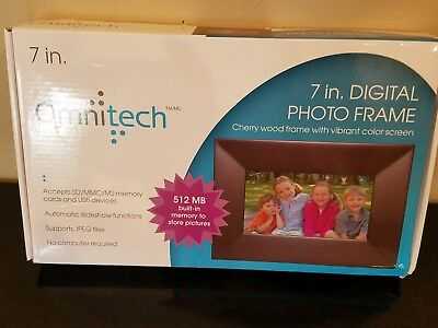 """Omnitech 7"""" Digital Photo Frame Cherry Wood Automatic Slide Show complete"""