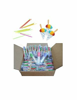Perfect Stix Snow Cone Cup Kit - 50ct Snow Cone Kit with 50 Cups, 50 Neon Str...