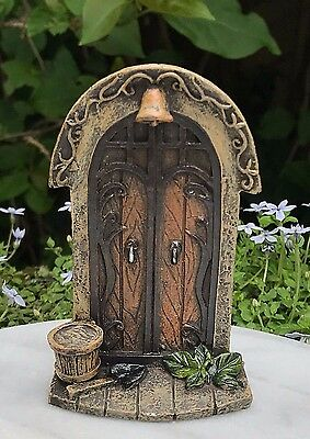 Miniature Dollhouse FAIRY GARDEN Gnome ~ Mini Door with Bucket & Bell ~ NEW