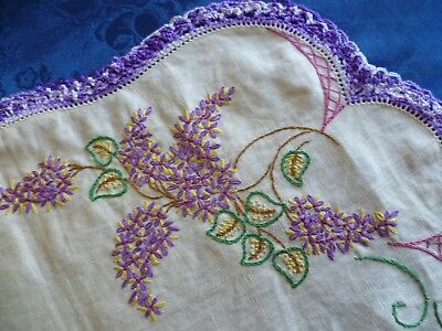 Vintage Hand Embroidered Duchess Set Large & 2 Small Doilies Floral Design