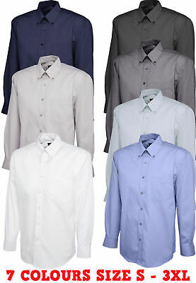 Uneek Mens Pinpoint Oxford Weave Long Sleeve Shirt With Button Down Collar UC701