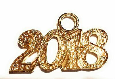 2018 Silver and Gold Drop Date Year Charm for Graduation Mortarboard Cap Tassel