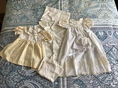 Lot of 5 Vintage Antique Baby Clothes Boy Girl Baptism Romper Embroidered