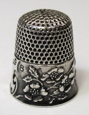 Antique Ketcham & McDougall Sterling Silver Thimble Wild Roses Design Darkened