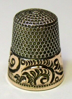 Antique Ketcham & McDougall Gold Band Sterling Silver Thimble  Scroll Design