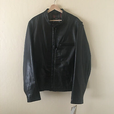 12bf56516a3 SCHOTT Waxed Natural Pebbled Cowhide Cafe Racer Leather Jacket 530 XXL  820  NEW