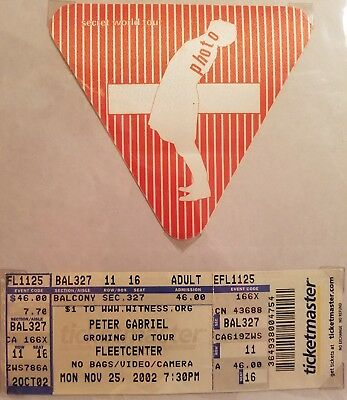 """Concert ticket stub and pass to """"Peter Gabriel """" 2002"""