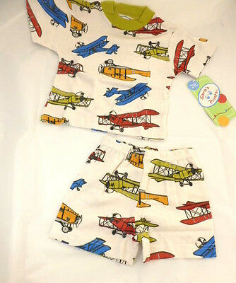 Saras Prints Pajamas Boys Size 18 Months Airplanes 2 Piece Boutique NEW