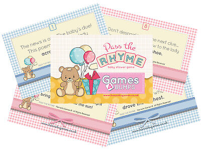 Pass The Parcel Baby Shower Party Game Fun Girl Boy Unisex Bump Poem Rhyme