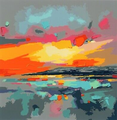 ABSTRACT SUNSET PAINTING PAINT BY NUMBERS CANVAS KIT 20 x 16 ins FRAMELESS,