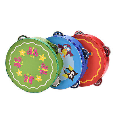 Kids Wooden Tambourine Printing Flower Hand Held Drum Baby Bedtime Toy TH