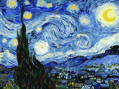 VAN GOGH STARRY NIGHT PAINTING PAINT BY NUMBERS CANVAS KIT 20 x 16 ins FRAMELESS