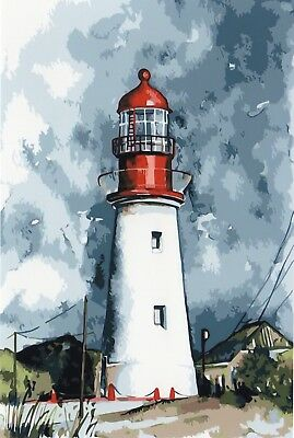 LIGHTHOUSE PAINTING PAINT BY NUMBERS CANVAS KIT 20 x 16 ins FRAMELESS, ACRYLIC