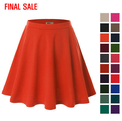 [FINAL SALE]TWINTH Womens Basic Versatile Stretchy Flared Skater Skirt
