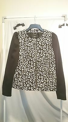 Mango Suit Ladies Vintage Jacket in Black and White Lined Zip Front Size L US
