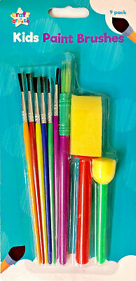 Kids Paint Brush Set Artist Childrens for crafty time Painting Drawing 10 Pack