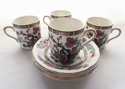 4 Royal Grafton Indian Tree Demitasse Cup & Saucer Sets Bone China EUC