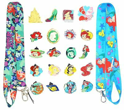 Ariel Little Mermaid Starter Lanyard Set w/ 5 Themed Disney Trading Pins ~ NEW