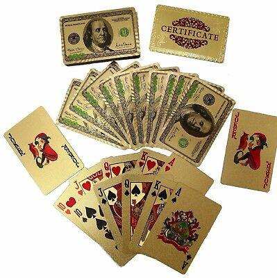 24K Gold Plated Waterproof Poker Plastic Playing Cards $100 Design Benjamins!