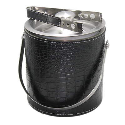 STREET CRAFT Black Leather Ice Bucket Double Wall Insulated Stainless Steel Ice