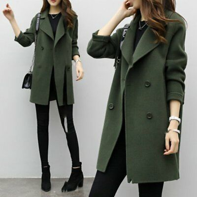 Women Fashion double breasted long trench coat jacket overcoat Parka Lot ST