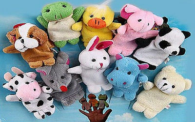 AUS SELLER..VELVET ANIMAL FINGER PUPPETS - SET OF 10 pretend play  new