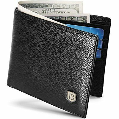 Men Genuine Leather Wallet RFID Bifold Slim Money Credit Card ID Holder Purse