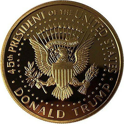 Commemorative Coin President Donald Trump In God We Trust Golden Token Gift