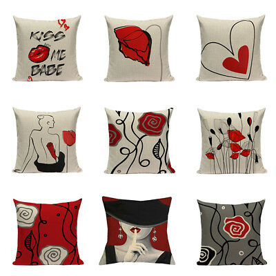 Personality Creative Red Black Flower Pillow Case Linen Cushion Cover Home Decor