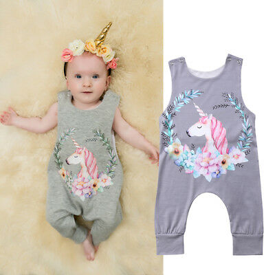 Baby Girl Boy Cotton Unicorn Romper Bodysuit Jumpsuit Outfits Sunsuit Clothes AU