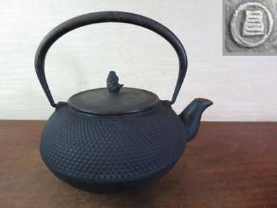 Japanese Antique KANJI old Iron Tea Kettle Tetsubin teapot Chagama 2209