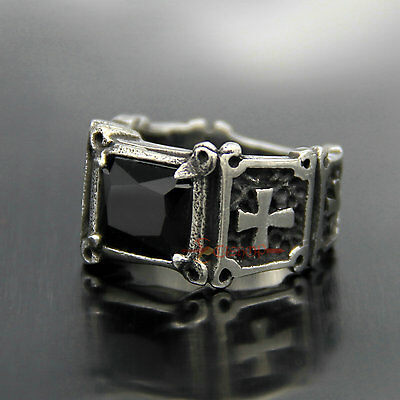 Men Women Black Onyx Holy Cross 316L Stainless Steel Fashion Ring Band Size 7-13