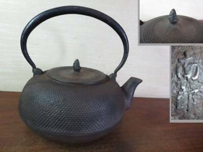 Japanese Antique KANJI old Iron Tea Kettle Tetsubin teapot Chagama 2212