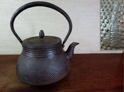 Japanese Antique KANJI old Iron Tea Kettle Tetsubin teapot Chagama 2215