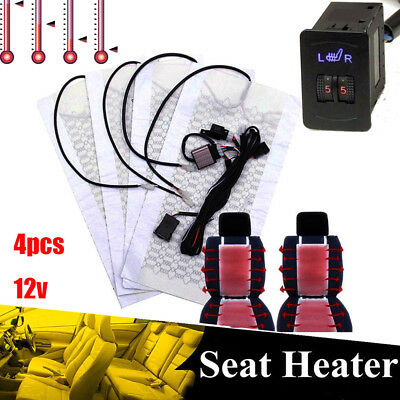 Car Seat Carbon Fiber Heated Cushion Seat Heater Cover Pad Hi-Lo Switch Kit 12V