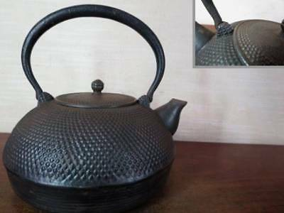Japanese Antique KANJI old Iron Tea Kettle Tetsubin teapot Chagama 2224