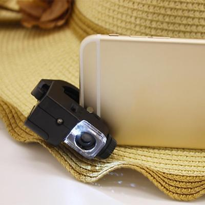 90X Phone Type LED Light Microscope Magnifier Mount Holder Adapter UV Detector