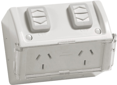 Clipsal OUTLET SOCKET WITH FLAP 10A 250V 2-Gang IP54 Rating GREY *Aust Brand