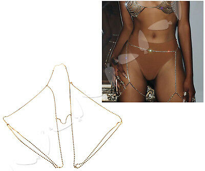 Women Gold Shiny Crystal Rhinestone Leg Chain Body Beach Parties Bikini Jewelry