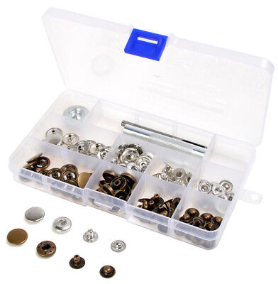 10/12.5/15/17mm 30 Sets Snap Fastener Press Studs Kit fit Leather Craft Clothes