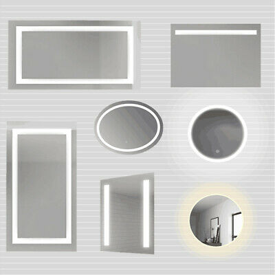 Round/Square Bathroom Mirror LED Illuminated Touch Switch Anti-fog Wall Mounted