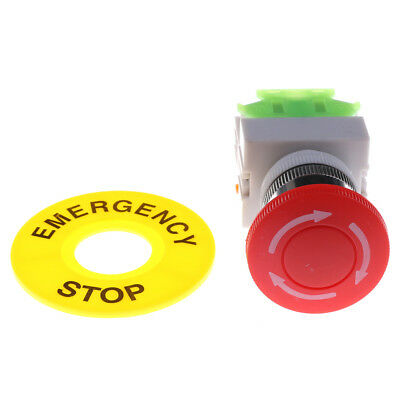 Red Mushroom Cap 1NO 1NC DPST Emergency Stop Push Button Switch AC 660V 10A TH