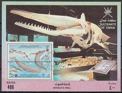 Oman 1993 used Bl.10 Delphine Wale Dolphins Whales [ga900]