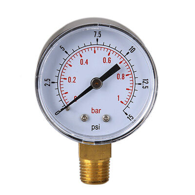 Low Pressure Gauge for Fuel Oil Air Gas 0/15 PSI 0/1 Bar 1/4 BSPT Brass Wetted