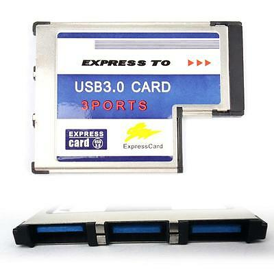 54mm Express Card ExpressCard to 3 Port USB 3.0 Adapter for Laptop Chip OC AU#25