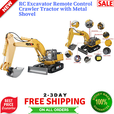 Remote Control Excavator RC Tractor Bulldozer Crawler Metal Digger Car Truck Toy